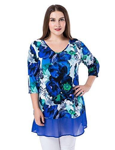 Chicwe Blusas Tops Túnicas Tallas Grandes Mujeres Estampado Floral Dobladillo de Gasa Cuello-V Azul 48