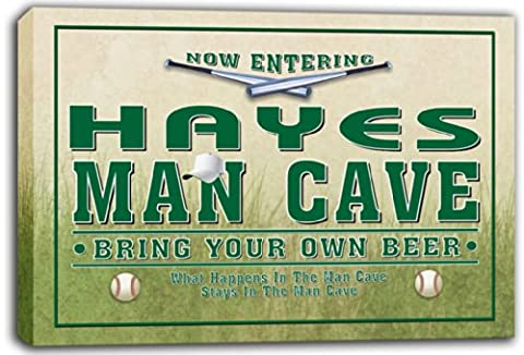 scqb1-1100 HAYES Baseball Man Cave Beer Pub Stretched Canvas Print