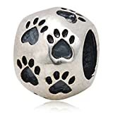 Choruslove Dog Paw Print Antique 925 Sterling Silver Round Bead for European Style Bracelet