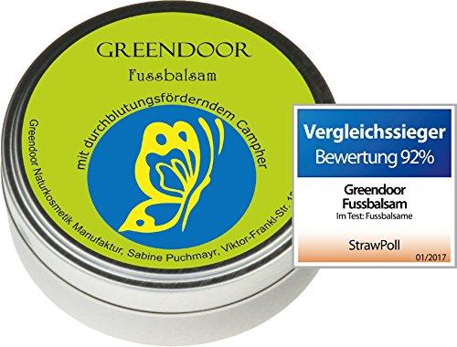 Greendoor Baume avec BIO Beurre de cacao, Crème de pied & pommade crevasses, 4 prises Rendement, Cosmétique naturelle, Baume Pied