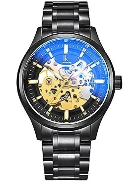 Alienwork mechanische Automatik Armbanduhr Skelett Automatikuhr Uhr Herren Uhren modisch Design Edelstahl schwarz...