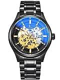 Alienwork mechanische Automatik Armbanduhr Skelett Automatikuhr Uhr Edelstahl schwarz 98543G-07-H
