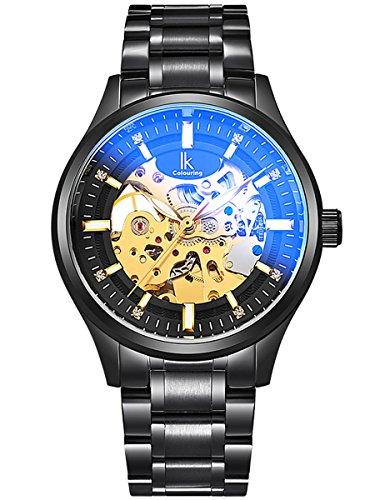 Alienwork Automatik Armbanduhr Herren Damen Uhr Edelstahl Armband Metallarmband Metallband schwarz Automatikuhr Herrenuhr Damenuhr Skelett