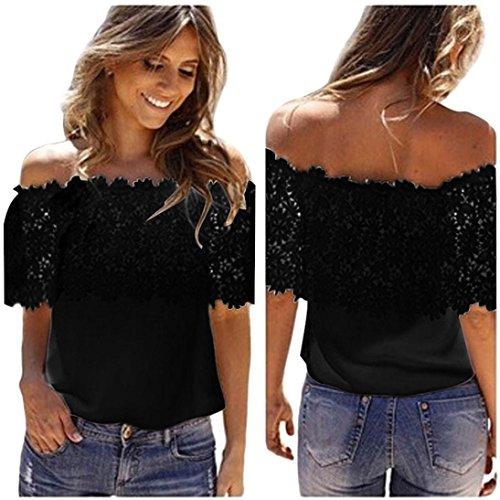 feiXIANG mode frauen Damen T-Shirt mit Spitzen aus Chiffon frauen lässig bluse häkeln chiffon hemd (S, Schwarz) (Perlen Tank-top Häkeln)