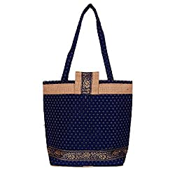 Womaniya Women's Handbag (Blue) (Handicraft Jute Bag)