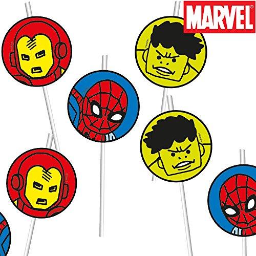 ers Team Power * für Kindergeburtstag oder Mottoparty // Neu 2018 // Marvel Kinder Geburtstag Motto Party Strohhalme Straws ()