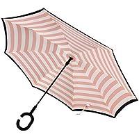 ToxTech Ombrelli maniglia ombrello antivento creativo invertito libero di viaggio C-Hook ombrello di modo banda del blu marino Double Layer