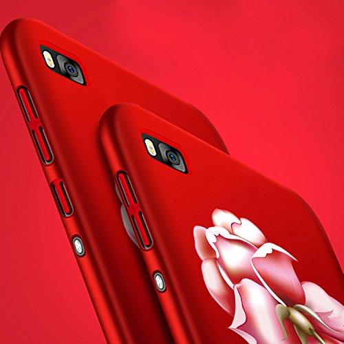 Rouge Très Mince Coque Huawei P8 Etui Housse Case Hard PC Matière avec [Protecteur d'écran] [Ultra Mince] [Ultra Léger] Anti-Rayures Anti-dérapante Dur Matte Cover,Sunroyal Élégant Motif Fleurs de piv Rouge Rose