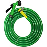 "TechnoCrafts PVC Braided Hose For Floor Care 10 Meter (33 Feet) 3/4"" (0.75 Inch Or 19mm) Bore Size - 3 Layered Hose Pipe With 7 Function Spray Gun, 1"" Tap Connector & 2 Butterfly Clamps"