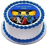 Ninjago Personalisierte Kuchen Topper Puderzucker Papier 19,1cm Ninja Jay Blau
