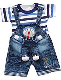 4edaa8124d48 BabyMart Baby Boys Baby Girls Party Wear Casual Wear Printed Applique Hight  Quality Printed Half Sleeves Denim…