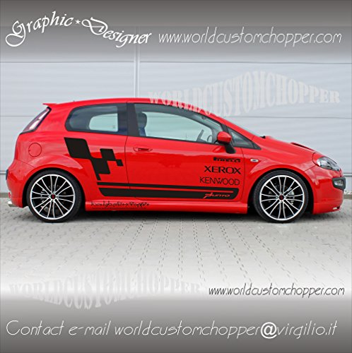 2 KIT GRAFICA ADESIVA STICKERS LATERALI FIAT GRANDE PUNTO DECAL GRAFICHE AUTO TUNING (NERO LUCIDO)