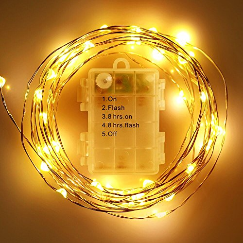 FOXNOV Battery Operated 50 LED Fairy String Lights, 5 Modes, 5M/16.4Ft, Warm White, Last Over 80 hrs, Pack of 2