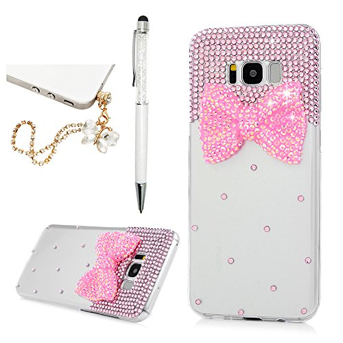 Klar, Flash (Samsung Galaxy S8+ Hardcase YOKIRIN Samsung Galaxy S8 Plus Schutzhülle Glitzer Rhinestone Case Hartschale Handyhülle Sparkle Bling 3D Diamant Strass Tasche Skin Schale PC Backplane Clear Kristall Handytasche Etui Transparent Flash Diamant Bogen Harz)