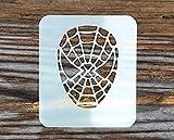 Stencil con sagoma a forma di volto di Spider-Man, misura: 7x 6cm, 190micron di spessore, lavabile e riutilizzabile, in Mylar