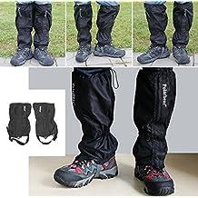 Yihya Unisexo Impermeable Respirable 2 Pcs Trekking Gaiter Legging Polainas Excursionismo Alpinismo Cámping Caza Polainas, Color Negro