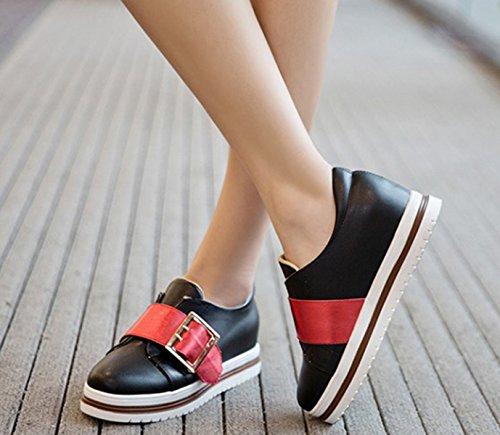 Damen Modische Slipper Unsichtbar Aufzug Flache Profil Gummi Sohle Leichtgewicht Low-Top Sneakers Schwarz