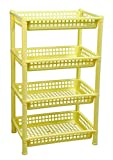 Logic Deluxe 4 Shelf Storage/Multi Purpose/Kitchen/Living Room/Rack - Yellow