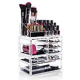 HBF XXL Make Up Organizer Kosmetik Aufbewahrung Organizer - 5 Ebenen 7 Schubladen aus transparentem Acryl von besonderer Qualität