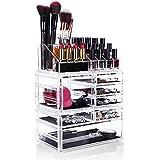 HBF Acrílico Transparentes Organizador De Maquillaje Multifuncional Organizadores Para Cosméticos Caja Para Organizar Pincel De Maquillaje Esmalte De uñas perla Joyas(7 cajones+16compartimientos)