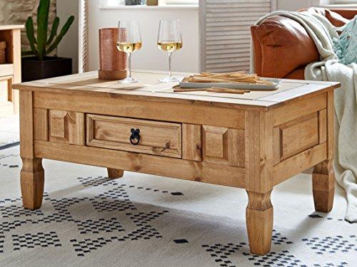Rustikaler Couchtisch (SAM® Couchtisch aus Kiefernholz, Mexico-Möbel, rustikaler Tisch mit Schubfach, gewachste Oberfläche mit schwarzem Metallgriff, ca. 100 x 60 cm [521545])