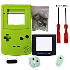 eJiasu Full Replace Parts Housing Shell Pack Replacement for Nintendo GBC Gameboy Color (Green Case with Lens and Screwdriver)