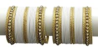 {Extra 20% Discount} Gorgeous Ethnic Style Amazing Crystal Stud White Bangles Partywear Indian Jewellery (2.6)