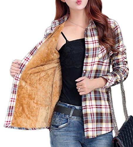 Smile YKK Chemisier Automne Femme Blouse Coton Velours Motif Carreaux Veste Hiver Chaud, Café, Asiatique M,Buste 92cm