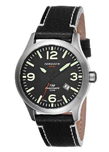 Torgoen - T32102 - Montre Homme - Automatique Analogique - Cadran Noir - Bracelet Cuir Noir