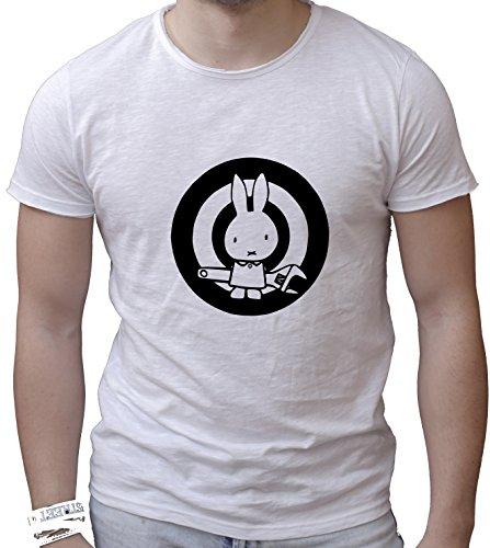T-shirt cotone fiammato Scollo ampio a taglio vivo - ACTION BUNNY divertenti humor MADE IN ITALY Bianco
