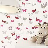 NEWROOM Kindertapete Rosa Vliestapete Braun Creme Natur Schmetterlinge schöne moderne und edle Optik für Babys, Jungs oder Mädchen, inklusive Tapezier Ratgeber Kindertapete Rosa Schmetterlinge Kinder