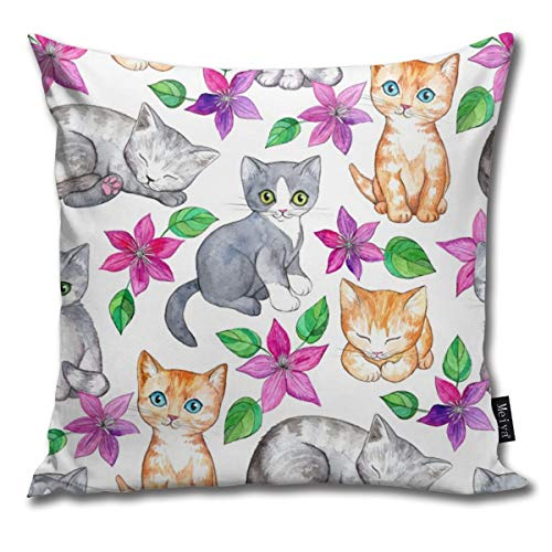 Ruffled Shell (Medium Cute Kittens and Clematis Flowers In Watercolor On White Decorative Modern Pillow Cover Square Luxury Cushion Case Durable Throw Pillow Cover Shell for Couch Sofa Bed Living Room 18x18 Inch)
