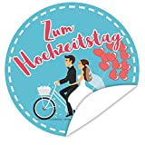 Zum Hochzeitstag Aufkleber ❤️ Geschenke zum Hochzeitstag ❤️ inkl. Postkarte Alles Gute ❤️ rund ❤️ 9,5 cm ❤️ Gestalten Sie Ihre Geschenke individuell