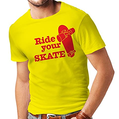 N4196 Men's T-shirt Ride your Skate t-shirt (X-Large Yellow