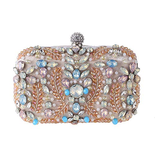 Rinalay Handtaschen Damen Clutch Bag Diamant Perlen Stickerei Paket Handtasche Schimmer Living Für Hochzeit Prom Abend Umhängetasche (Color : Apricot, Size : One Size) - Apricot-schimmer