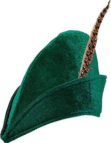 O23628 Jäger-Robin Hood Hut grün mit Feder (Girl Jäger Kostüm)
