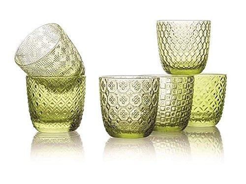 Sixties Lot de 6 verres à eau vert 6 optiques assorties CL. 31