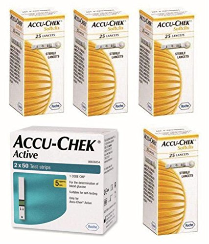 Accu-Chek ACTIVE 100 STRIPS &100 LANCETS  available at amazon for Rs.1881