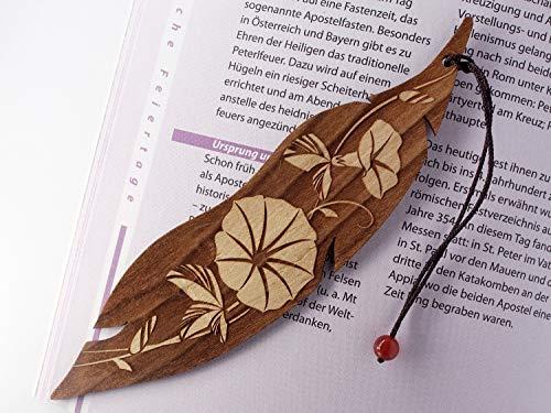 Personalisiertes Lesezeichen aus Holz, Morgenruhm Blume, Minatur