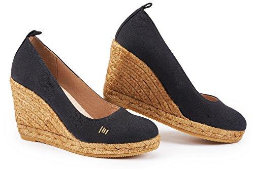 VISCATA Barcelona Damen Espadrilles, Schwarz - Schwarz - Größe: 39 EU (Größe 5 Schuhe Für Frauen Wedges)