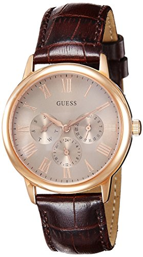Guess Men's Quartz Watch with Beige Dial Analogue Display and Brown Leather Bracelet W0496G1