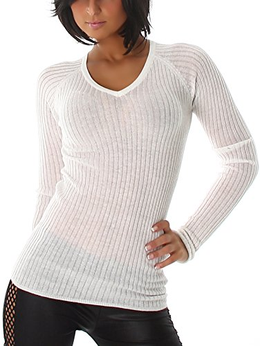 Voyelles Feinripp Feinstrick Stretch Pullover Sweatshirt Longsleeve transparent Ripp-Musterung, Weiß