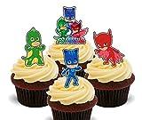 Essbare Cupcake-Topper von PJ Masks, stehende Dekoration für Kuchen und Waffeln, 24er-Pack