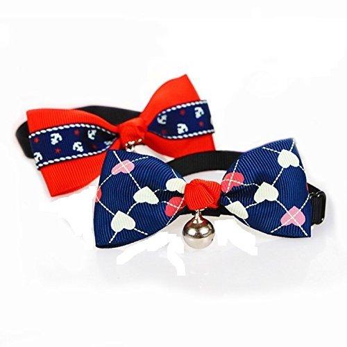 Fully 2 Stil Verstellbar Hunde Halsband Schleife Fliege Hundeschleife Krawatte mit Glocken (Anker&Herz)