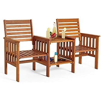 691ce29d9c VonHaus Garden Love Seat Bench - 2 Seater Hardwood Outdoor Patio Furniture  Set with Built-in Parasol Hole