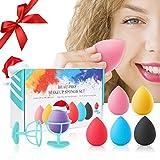 Spugnette Make up, Set di Spugnetta Fondotinta Beauty Blender, 6 x Spugne per Goccioline di Colori Caramelle, 2 x Supporto per spugne trucco, 1 x Confezione regalo, Adatto per correttore per cipria