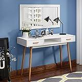 Keinode Schminktisch 2 Schubladen Computertisch Massivholz Aufbewahrungsschrank Schminktisch Büro Schreibtisch für Schlafzimmer Zuhause Büro