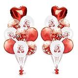 Tumao 18 Stück Latex Luftballons Weihnachten,12 Zoll Konfetti Ballons Weihnachten Folie Ballons,Perfekte Deko Weihnachtsballons Für Geburtstagsfeiern, Hochzeitsfeiern. (Rot)