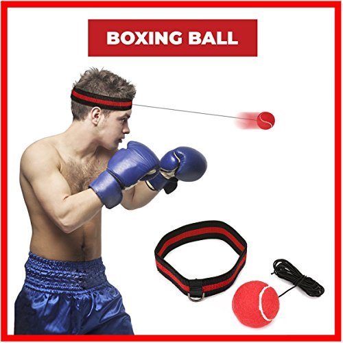 SGODDE Balle de Combat avec Bandeau de Tête, Ballon de Boxe pour La Formation de Vitesse Réflexe Punch Exercice Entraînement (Rouge)