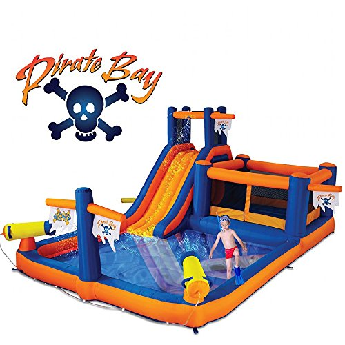 Blast Zone GE-PIRATEBAY Inflatable Water Park, Bounce House and Cannons